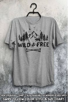3edb38d82dba09 Wild and Free Shirt Camping Nature Explore The Mountains Are Calling  Wildlife Wilderness Mens Womens