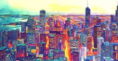 Using her signature style of vibrant watercolors applied to dense cityscapes, Wrońska takes on a new view in her latest series.