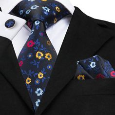 Hommes Tissée Imprimé Floral Cravate /& Mouchoir Mouchoir De Poche Carré Set Cadeau