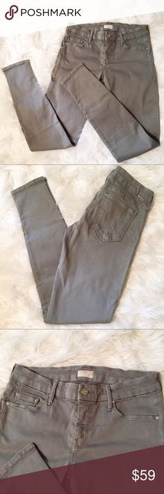 """Mother The Looker skinny Jeans in Pebble wash Excellent condition. The color is gray with just a tinge of green. Size 29. 92.5% cotton 5% polyester 2.5% Lycra29"""" waist. 8"""" rise. 12.5"""" rear rise. 30"""" inseam. ** I am marking these size 27 because these measurements seem very small for a 29** MOTHER Jeans Skinny"""