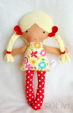 First Doll, First Baby Doll, Soft Doll, Rag Doll, Baby doll, Softie, Textile Doll, Fabric Doll, Baby Girl Gift, Handmade Doll, Cloth doll