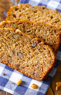 This whole wheat banana bread is made without oil and butter. Rather, applesauce is used to give the bread moisture. Its flavor and texture is outstanding!