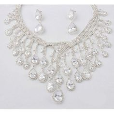 Designer Clear Zircon Drop Wedding Bridal Necklace Earring Jewelry Sets SKU-10801020