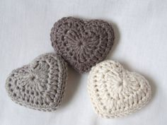 lavender hearts, set of three organic cotton hearts Crochet hearts filled with lavender would be an elegant Valentine's Day gift.Crochet hearts filled with lavender would be an elegant Valentine's Day gift. Diy Tricot Crochet, Crochet Mignon, Crochet Motifs, Crochet Amigurumi, Crochet Home, Love Crochet, Crochet Gifts, Crochet Flowers, Crochet Stitches