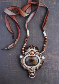 Soutache pendant, Brown and beige pendant with agate, Beaded pendant, Embroidered pendant, Gift for her, Soutache jewelry, FREE SHIPPING