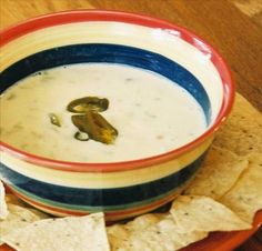 """Queso Blanco Mexican White Cheese Dip from Food.com:   This is a white dipping sauce served in many restaurants with chips or hot flour tortillas for dipping. This is a basic recipe that uses '""""jack"""" for the Tex-Mex version and chihuahua and/or asadero for the more traditional Mexican version."""