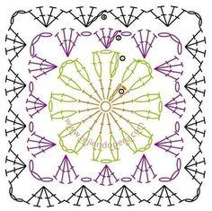 Crochet squares - a lot of free patterns Crochet Motif Patterns, Granny Square Crochet Pattern, Crochet Diagram, Square Patterns, Crochet Chart, Crochet Granny, Blanket Crochet, Crochet Squares, Crochet Blocks