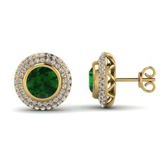 yellow-gold-round-green-emerald-riveting-halo-studs-earrings-with-white-diamond-in-pave-set-FDEAR69313GEMGR-NL-YG