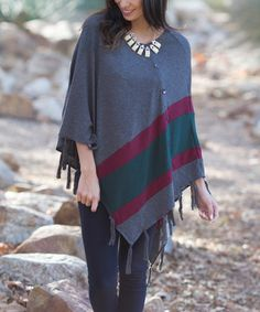 Look at this #zulilyfind! Charcoal & Burgundy Color Block Poncho by Pinkblush #zulilyfinds