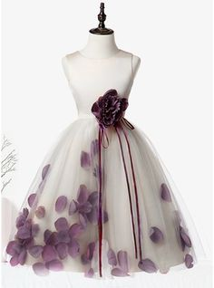 A-Line/Princess Knee-length Flower Girl Dress - Organza/Satin/Tulle Sleeveless Scoop Neck With Flower(s) - Flower Girl Dresses - JJsHouse Flower Girls, Cheap Flower Girl Dresses, Little Girl Dresses, Cute Dresses, Beautiful Dresses, Homecoming Dresses, Bridesmaid Dresses, Satin Tulle, Fairy Dress