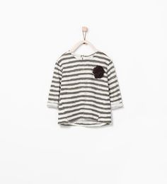 SHINY STRIPED T-SHIRT WITH APPLIQUE from Zara
