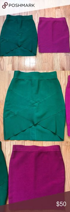 Set of 2 bandage skirts Set of 2 bandage mini skirts.  Magenta one is from Guess by Marciano green one is better quality but unknown brand Only worn a few times, other than that they've been sitting in my closet for too long.  Both are size XS.  *send me offers! *i also do bundle deals! Skirts Mini
