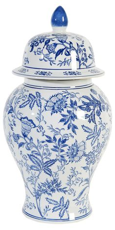 "21"" Fleur Ginger Jar, Blue/White   A Cool Combination   One Kings Lane"