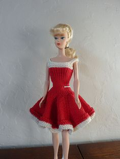 Ravelry: #0922 Red and white dress with flared skirt pattern by stickatillbarbie.se