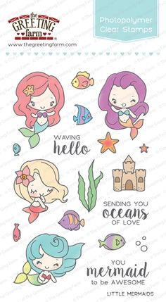 The Greeting Farm LITTLE MERMAIDS Clear Stamps TGF252 ... I need these for my niece's mermaid party :)