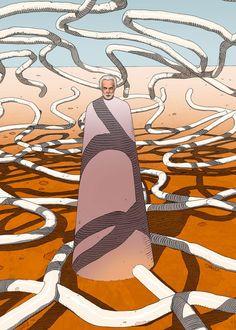 "Zoran Janjetov ~ poster artwork, in the style of ""Moebius"", for ""Jodorowsky's 'Dune'"" Jean Giraud, Comic Books Art, Comic Art, Jodorowsky's Dune, Dune Art, Moebius Art, Bd Art, Culture Art, Art Et Illustration"