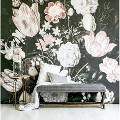 Contrasted vintage painting of blossoms mural Self adhesive wallpaper allows for paste free application and easy removal or repositioning. Traditional paste and glue method also available Blossoms walloper come in a matte finish  10'L x 10'W