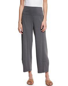 TC3NB Eileen Fisher Fold-Waist Cropped Lantern Pants, Plus Size