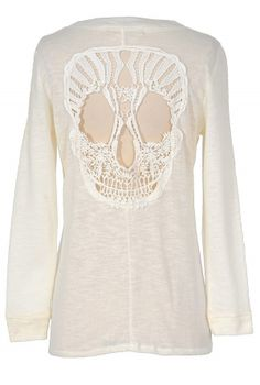 Skull Cutout Ivory Cardigan What's not to love about this whimsical ivory cardigan with a crochet skull design on the back?  The Skull Cutou...