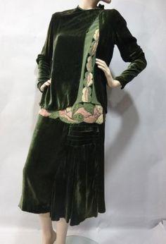 Velvet dress and jacket, ca 1927