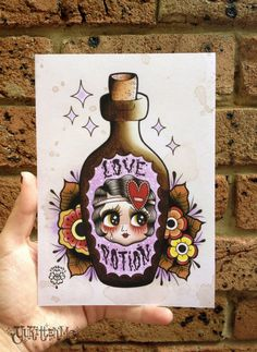 Love Potion- A5 Digital Print Watercolour Traditional Tattoo Flash on Etsy, $9.51