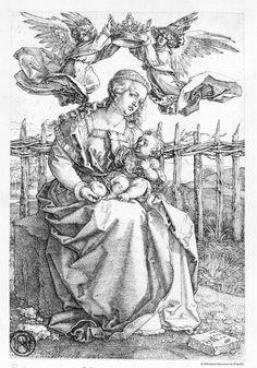 [La Virgen con el Niño coronada por dos ángeles]. Dürer, Albrecht 1471-1528 — Grabado — 1518