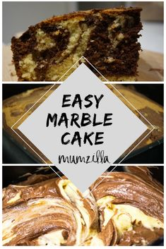 Easy Marble Cake Recipe – great to make with kids! Marble Cake Recipes, Easy Cake Recipes, Easy Desserts, Dessert Recipes, Delicious Recipes, Simple Recipes, Yummy Food, Healthy Recipes, Gin And Tonic Cake