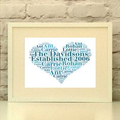 Family Name Established Heart Personalised Print  by PepperDoodles