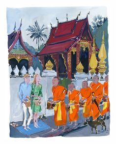 A series of vibrant illustrations of South East Asia by Jean Philippe Delhomme. Luang Prabang, Laos Thailand, Jean Philippe, Illustration Art, Illustrations, Phnom Penh, Double Take, Angkor, Southeast Asia