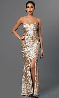 Shop strapless pageant dresses and long prom dresses with sequins at Simply Dresses. Long metallic-sequin gowns and sweetheart dresses for galas.