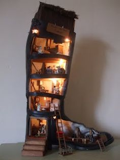"""a wonderful """"dollhouse"""" created for a boy for Christmas.  It is absolutely spectacular. via vintage-jane.blogspot.com"""