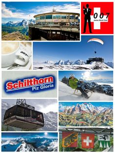 The Schilthorn is a 2970 metre high summit of the Bernese Alps, overlooking the valley of Lauterbrunnen in the Swiss canton of Bern. It has a panoramic view which spans from the Titlis, Jungfrau, Mönch, Eiger, over the Bernese Alps and the Jura mountains up to the Vosges Mountains and the Black Forest. Mont Blanc is also just visible. There is a panoramic revolving restaurant, named Piz Gloria, at the summit, which is where the James Bond movie On Her Majesty's Secret Service was set.