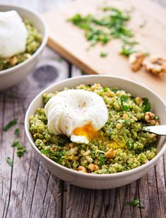 Quinoa Kale Pesto Bowls with Poached Egg