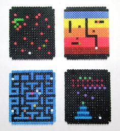 Retro Arcade set of 4 Perler Coasters. $12.50, via Etsy.