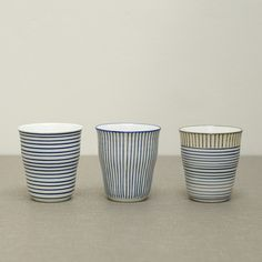 Blue and White Stripe Cups