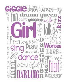 All Girl Subway Art for Nursery or Bedroom Print por MyPoshDesigns