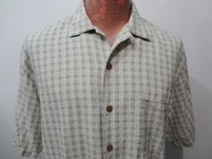 Tommy Bahama Mens M Lt Green & Yellow Checked Plaid Short Sleeve Silk Camp Shirt #TommyBahama #ButtonFront