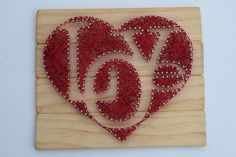 Handcrafted LOVE Heart string art. Natural wood stain with red embroidery…