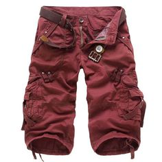 New 2017 Men's fashion multi-pocket overalls men's tooling fashion active lager size outwear Cargo short men 5 colors A1986