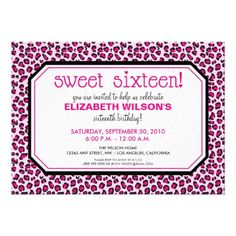 Hip Leopard Sweet 16 Birthday Party Invite: pink  #birthdayparty #sweet16 #sweet16partyinvitations
