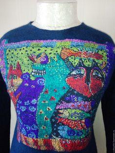Купить Пуловер Котики - тёмно-синий, пуловер женский, пуловер валяный, пуловер, пуловер шерстяной