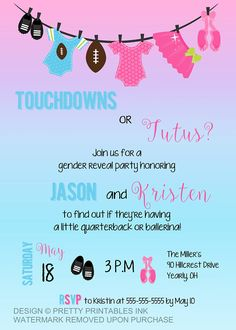 PRINTABLE gender reveal invitation / touchdowns or tutus