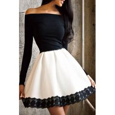 Stylish Off-The-Shoulder Long Sleeve Color Block Lace Hem Women's Fit and Flare Dress (WHITE AND BLACK,M) in Dresses 2016 | DressLily.com