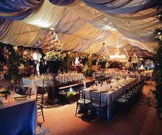 Flowers and draping can enhance the look and feel of your wedding tent.