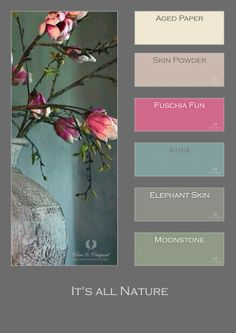 The Fresco Lime Paint / Kalkverf color Atria matches perfect here with others pastels of the flowers and old bowl.