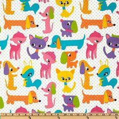 Plush Puppy Michael Miller Girl. Dogs Cats by StitchOrStashFabrics