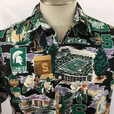 Reyn Spooner Michigan State Shirt Sport Hawaiian Traditional Camp Size Medium M  #ReynSpooner #Hawaiian