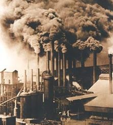Factories during the industrial revolution gave off many pollens in the air which made the air bad to breathe.