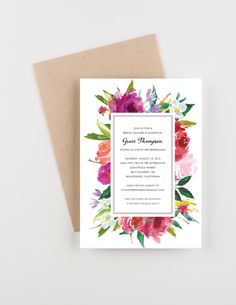 Floral Botanical Bridal Shower Invitation, Watercolor, Save The Date, Wedding Announcement by seahorsebendpress on Etsy Watercolor Invitations, Digital Invitations, Bridal Shower Invitations, Custom Invitations, Invites, Invitation Envelopes, Baby Shower Invitaciones, Bridal Luncheon, Wedding Announcements