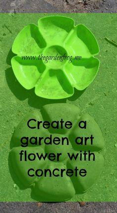 Create a garden art flower with concrete or hypertufa and a dollar store chip n… – Diy Garden İdeas Concrete Crafts, Concrete Garden, Garden Junk, Garden Art, Indoor Garden, Unique Gardens, Amazing Gardens, Solar Light Crafts, Solar Lights